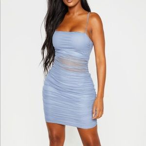 Dusty Blue Strappy Rushed Mesh Dress